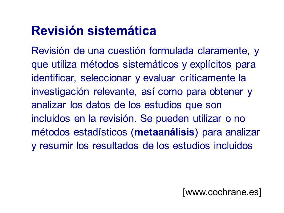 Revisión sistemática Revisión de una cuestión formulada claramente, y que utiliza métodos sistemáticos y explícitos para identificar, seleccionar y ev