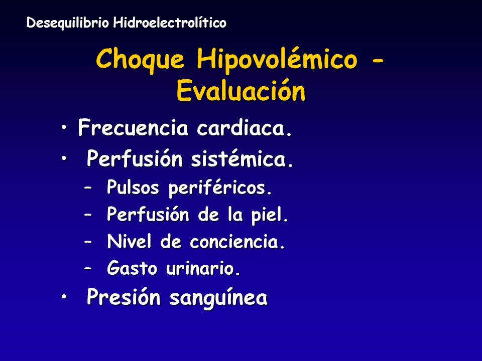 Choque Hipovolémico - Evaluación Frecuencia cardiaca.Frecuencia cardiaca. Perfusión sistémica. Perfusión sistémica. – Pulsos periféricos. – Perfusión
