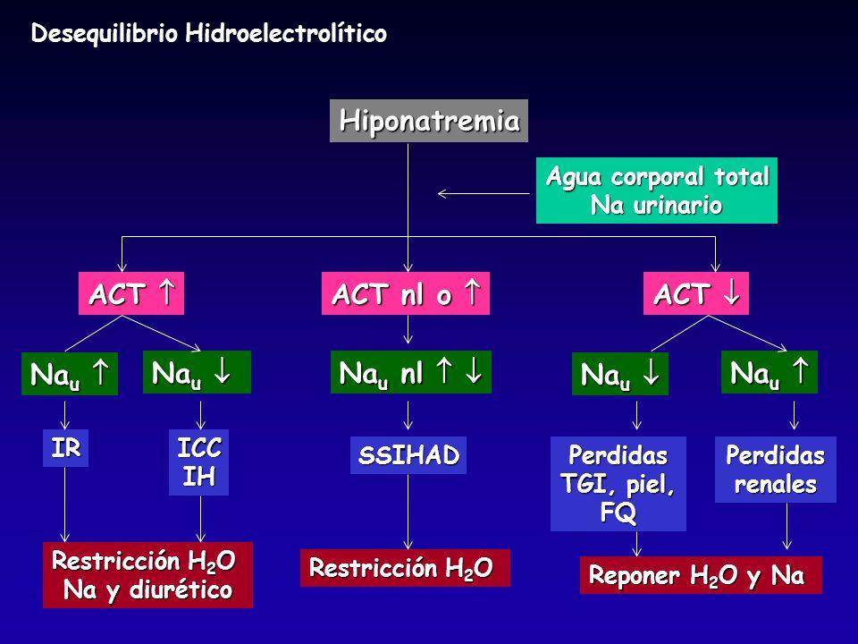 Desequilibrio Hidroelectrolítico Hiponatremia Agua corporal total Na urinario ACT ACT ACT nl o ACT nl o ACT ACT Restricción H 2 O Na y diurético Restr