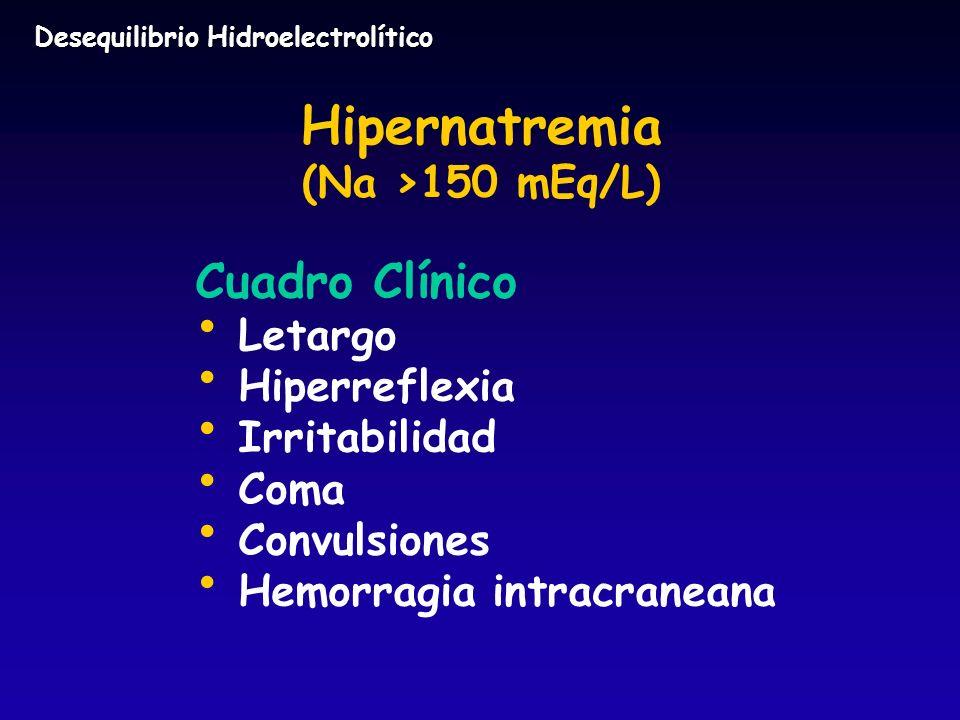 Hipernatremia (Na >150 mEq/L) Cuadro Clínico Letargo Hiperreflexia Irritabilidad Coma Convulsiones Hemorragia intracraneana Desequilibrio Hidroelectro