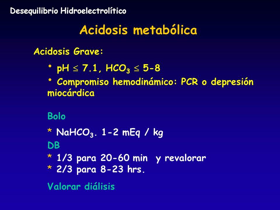 Acidosis metabólica Acidosis Grave: pH 7.1, HCO 3 5-8 Compromiso hemodinámico: PCR o depresión miocárdica Bolo * * NaHCO 3. 1-2 mEq / kg DB * * 1/3 pa