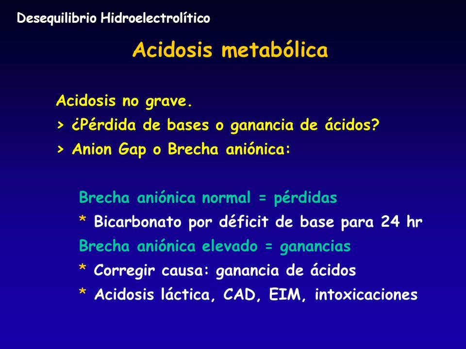 Acidosis metabólica Acidosis no grave. > ¿Pérdida de bases o ganancia de ácidos? > Anion Gap o Brecha aniónica: Brecha aniónica normal = pérdidas * *