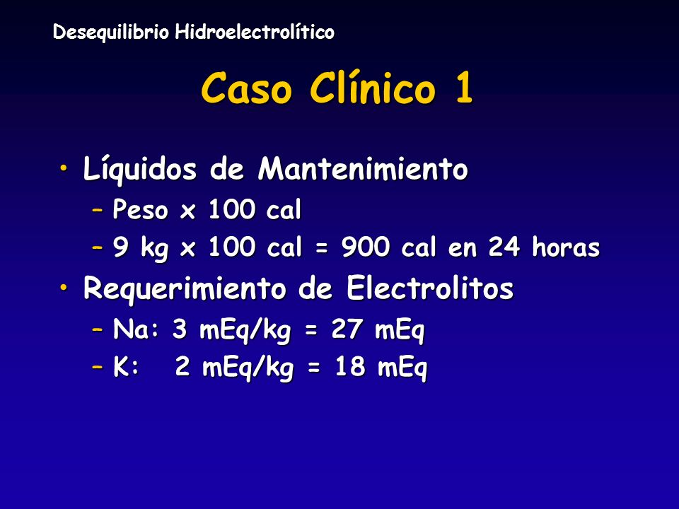 Desequilibrio Hidroelectrolítico Caso Clínico 1 Líquidos de MantenimientoLíquidos de Mantenimiento –Peso x 100 cal –9 kg x 100 cal = 900 cal en 24 hor