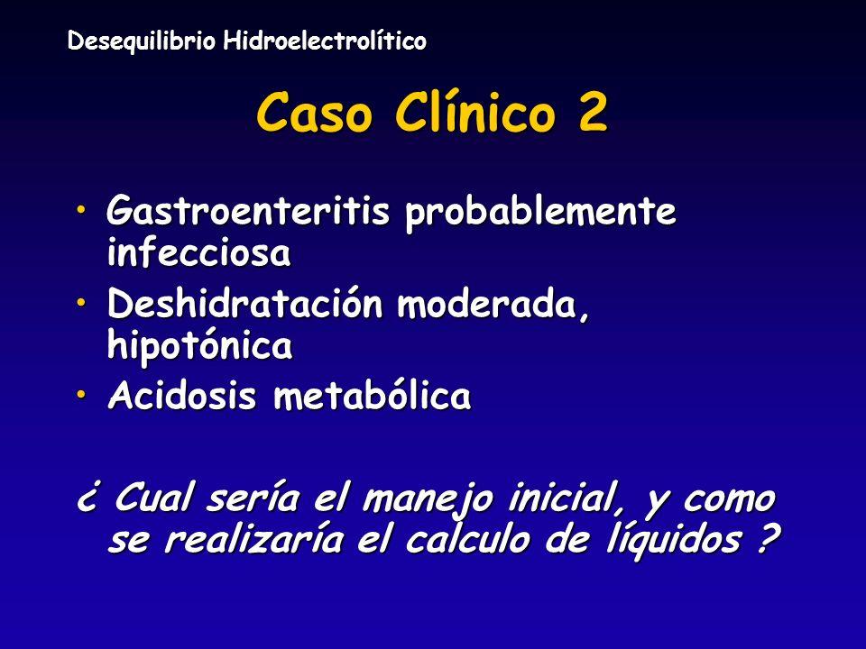 Desequilibrio Hidroelectrolítico Caso Clínico 2 Gastroenteritis probablemente infecciosaGastroenteritis probablemente infecciosa Deshidratación modera