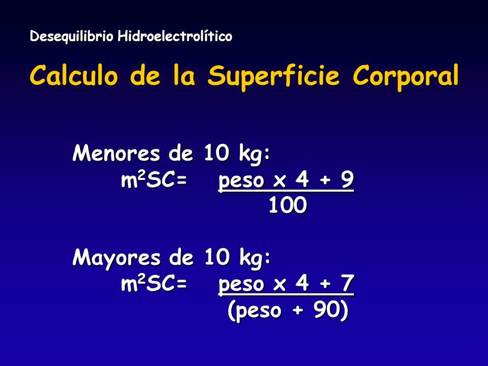Desequilibrio Hidroelectrolítico Calculo de la Superficie Corporal Menores de 10 kg: m 2 SC=peso x 4 + 9 100 100 Mayores de 10 kg: m 2 SC=peso x 4 + 7
