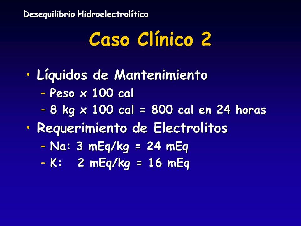 Desequilibrio Hidroelectrolítico Caso Clínico 2 Líquidos de MantenimientoLíquidos de Mantenimiento –Peso x 100 cal –8 kg x 100 cal = 800 cal en 24 hor