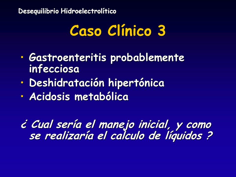Desequilibrio Hidroelectrolítico Caso Clínico 3 Gastroenteritis probablemente infecciosaGastroenteritis probablemente infecciosa Deshidratación hipert