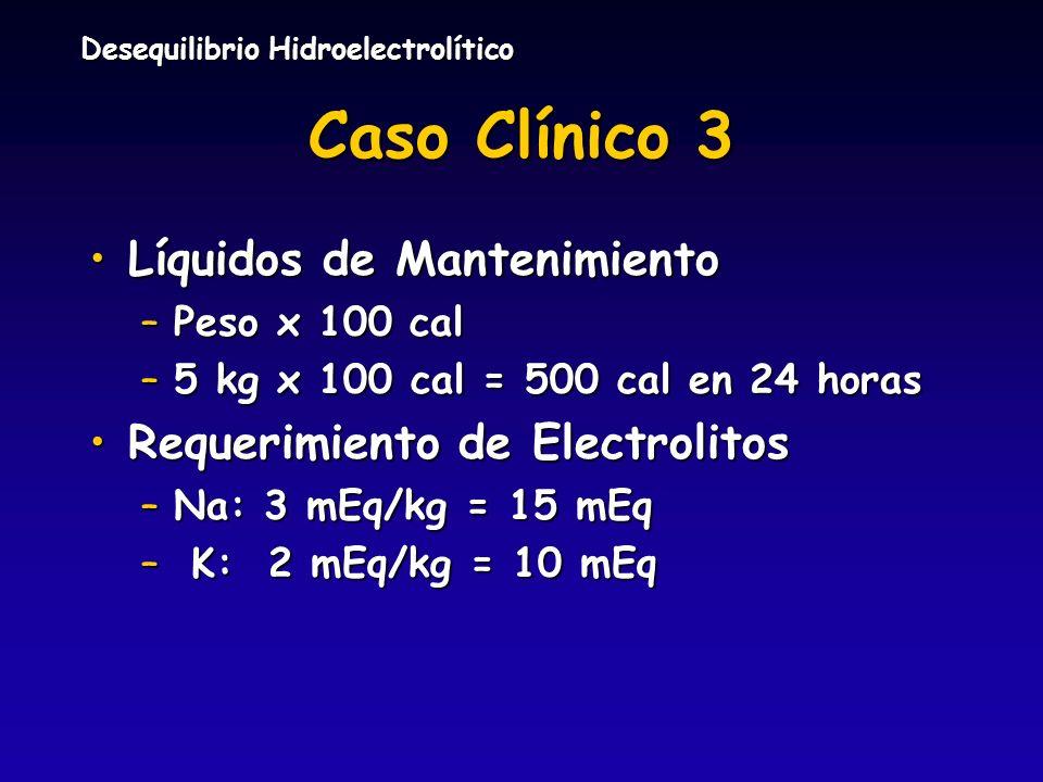 Desequilibrio Hidroelectrolítico Caso Clínico 3 Líquidos de MantenimientoLíquidos de Mantenimiento –Peso x 100 cal –5 kg x 100 cal = 500 cal en 24 hor