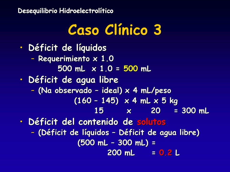 Desequilibrio Hidroelectrolítico Caso Clínico 3 Déficit de líquidosDéficit de líquidos –Requerimiento x 1.0 500 mL x 1.0 = 500 mL 500 mL x 1.0 = 500 m