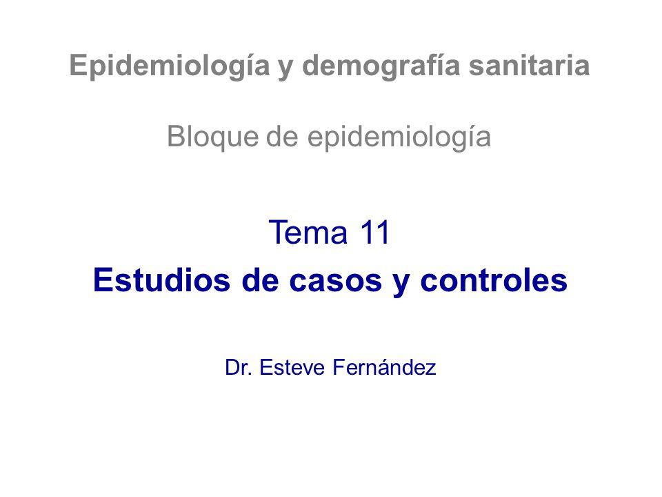 Epidemiología y demografía sanitaria Bloque de epidemiología Tema 11 Estudios de casos y controles Dr. Esteve Fernández