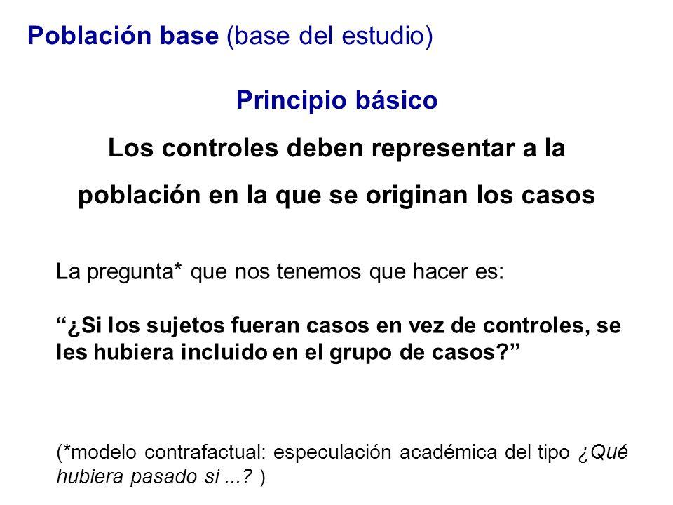 Población base (base del estudio) Principio básico Los controles deben representar a la población en la que se originan los casos La pregunta* que nos