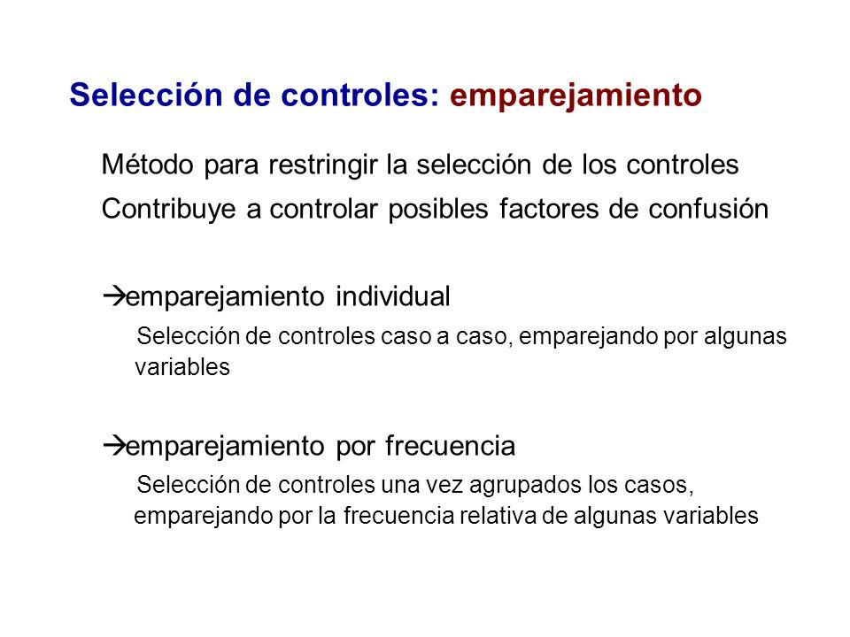 Selección de controles: emparejamiento Método para restringir la selección de los controles Contribuye a controlar posibles factores de confusión empa