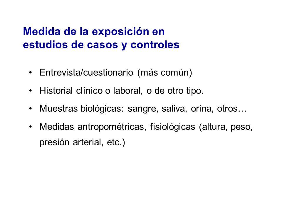 Entrevista/cuestionario (más común) Historial clínico o laboral, o de otro tipo. Muestras biológicas: sangre, saliva, orina, otros… Medidas antropomét