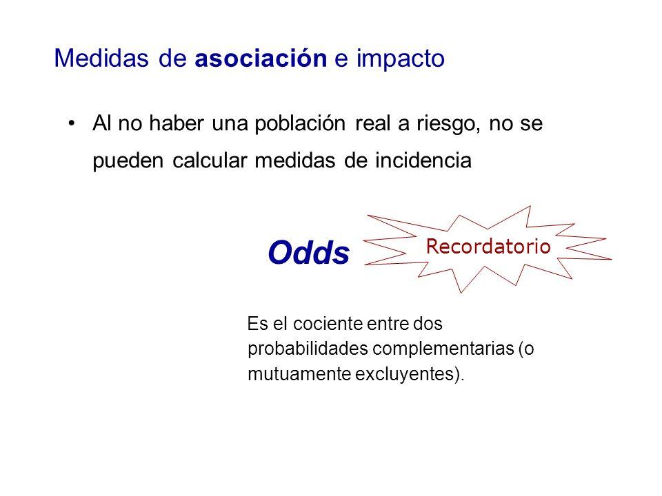 Al no haber una población real a riesgo, no se pueden calcular medidas de incidencia Odds Es el cociente entre dos probabilidades complementarias (o m