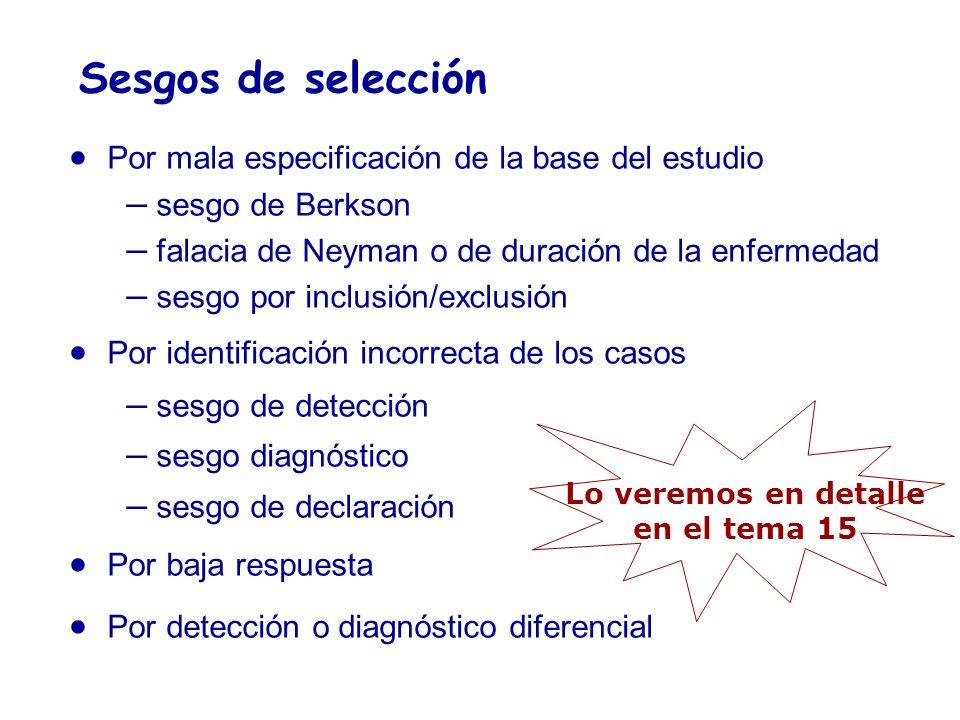 Sesgos de selección Por mala especificación de la base del estudio – sesgo de Berkson – falacia de Neyman o de duración de la enfermedad – sesgo por i