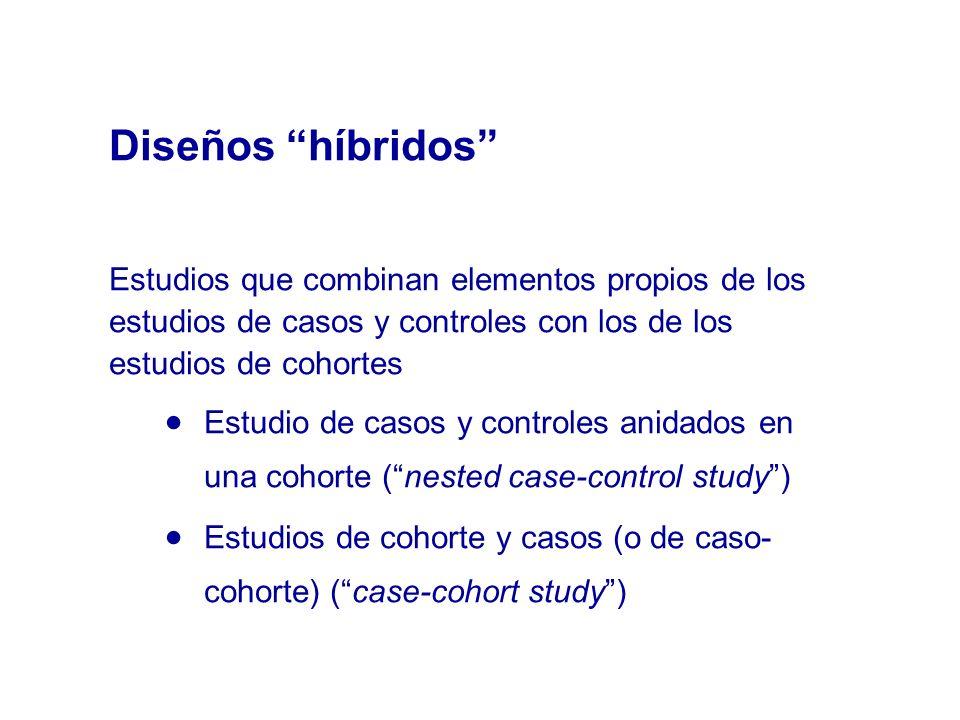 Estudios que combinan elementos propios de los estudios de casos y controles con los de los estudios de cohortes Estudio de casos y controles anidados