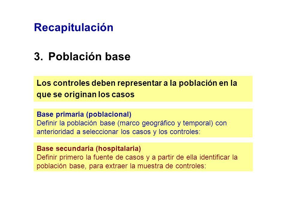 Recapitulación 3.Población base Los controles deben representar a la población en la que se originan los casos Base primaria (poblacional) Definir la