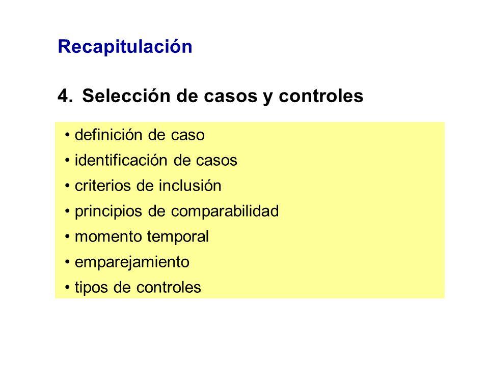 Recapitulación 4.Selección de casos y controles definición de caso identificación de casos criterios de inclusión principios de comparabilidad momento