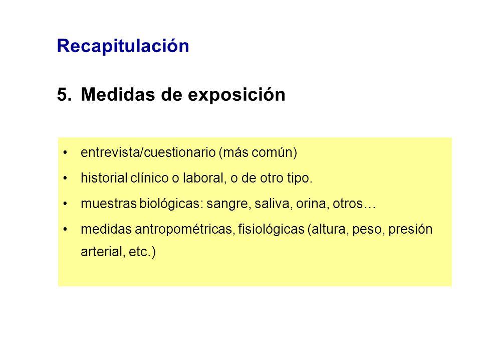 Recapitulación 5.Medidas de exposición entrevista/cuestionario (más común) historial clínico o laboral, o de otro tipo. muestras biológicas: sangre, s