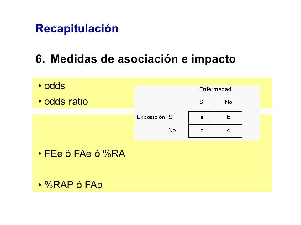 Recapitulación 6.Medidas de asociación e impacto odds odds ratio FEe ó FAe ó %RA %RAP ó FAp