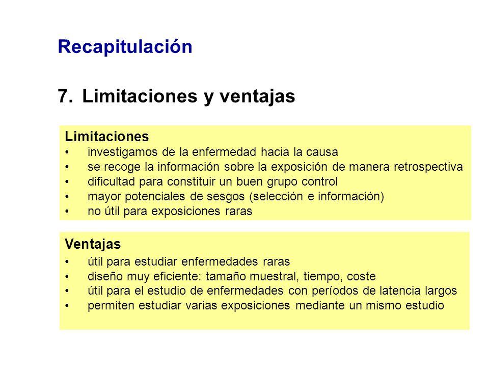 Recapitulación 7.Limitaciones y ventajas Limitaciones investigamos de la enfermedad hacia la causa se recoge la información sobre la exposición de man