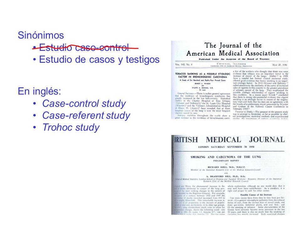 En inglés: Case-control study Case-referent study Trohoc study Sinónimos Estudio caso-control Estudio de casos y testigos