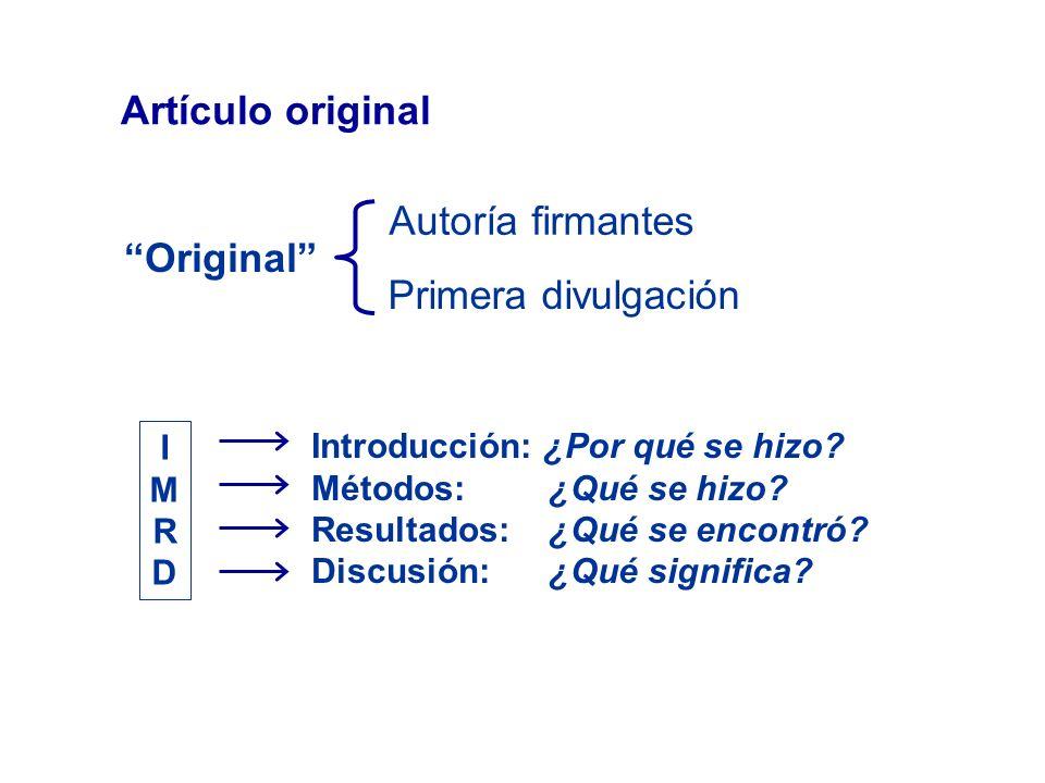 Anatomía de un artículo original Título Autores Resumen y Palabras clave Introducción Material y métodos Resultados (tablas y figuras) Discusión Agradecimientos Bibliografía