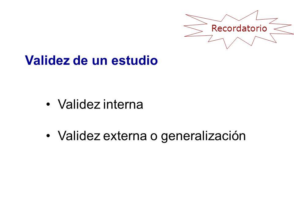 Validez interna (validez) Grado en el que los resultados de un estudio son correctos para los sujetos estudiados.