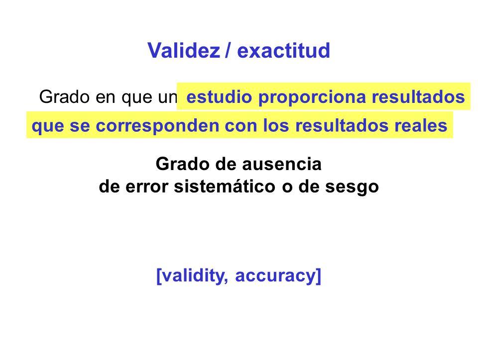 Reproducibilidad / Fiabilidad / Precisión Grado en en que una variable tiene casi el mismo valor cuando se mide repetidamente Grado de ausencia de errores aleatorios [reliability, reproducibility] un estudio proporciona resultados similares cuando se hace varias veces