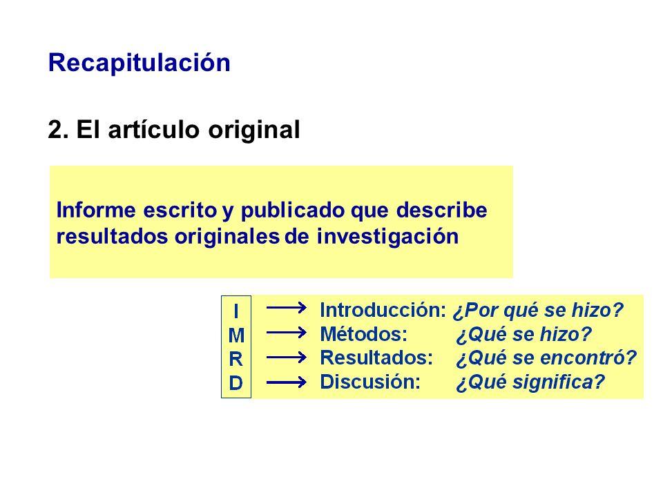 Recapitulación 3. El proceso editorial Peer review o revisión por pares o expertos
