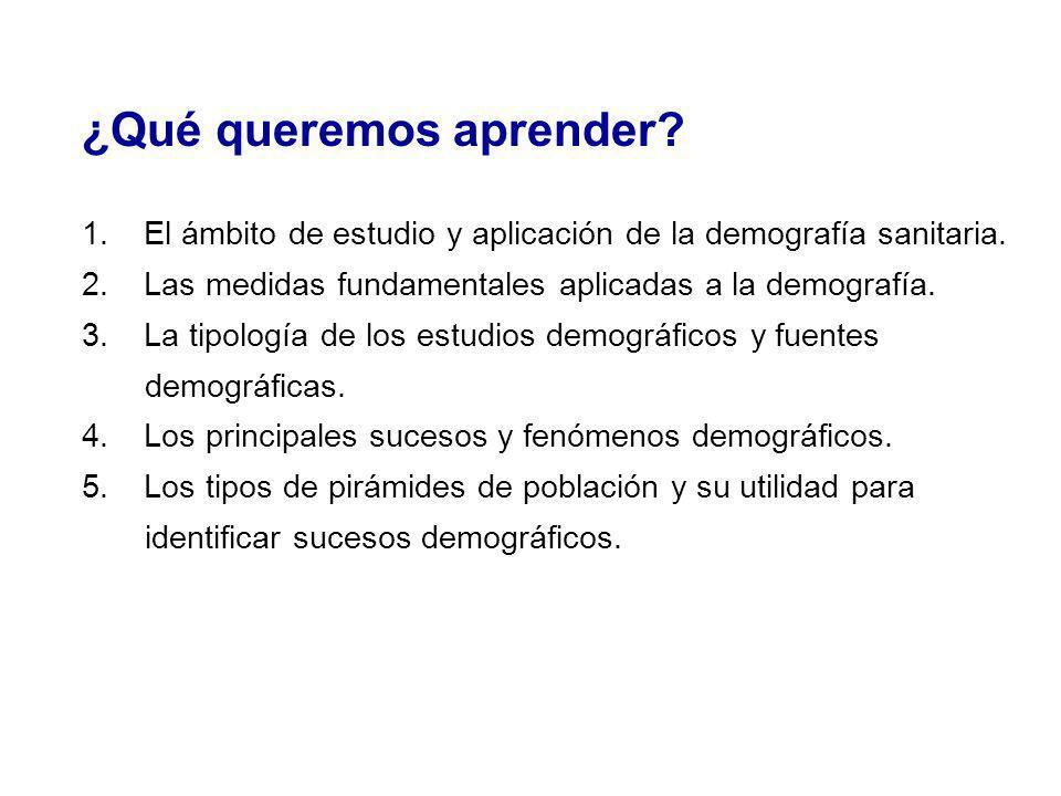 ¿Qué queremos aprender? 1. El ámbito de estudio y aplicación de la demografía sanitaria. 2. Las medidas fundamentales aplicadas a la demografía. 3. La