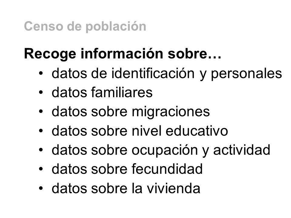 Recoge información sobre… datos de identificación y personales datos familiares datos sobre migraciones datos sobre nivel educativo datos sobre ocupac