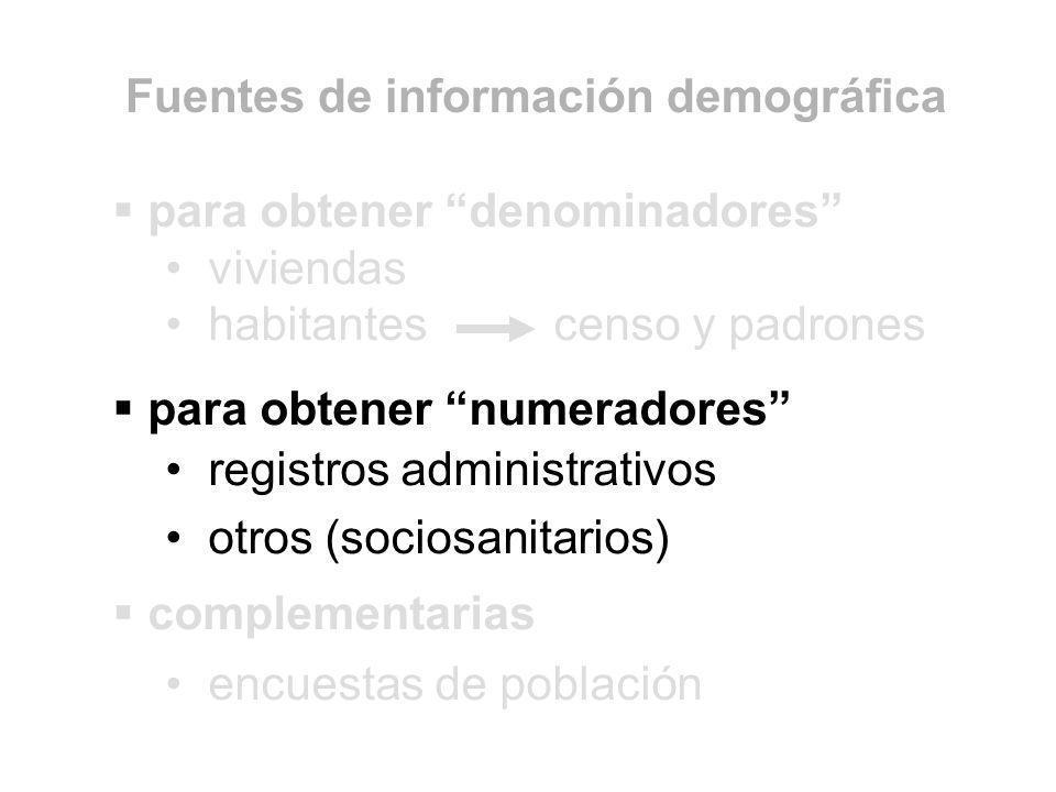 para obtener denominadores viviendas habitantes censo y padrones para obtener numeradores registros administrativos otros (sociosanitarios) complement