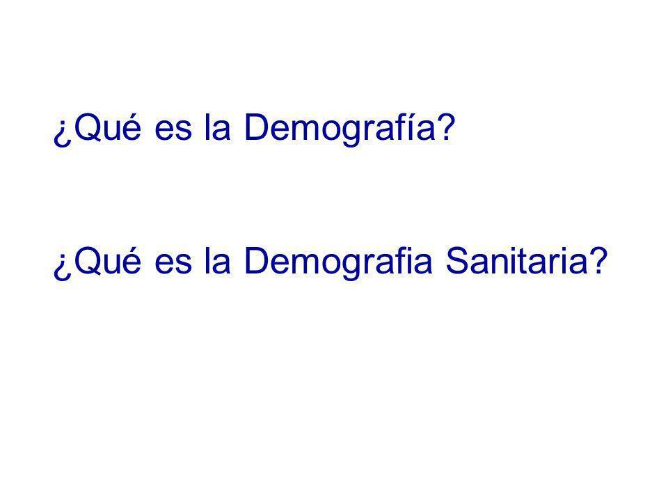 ¿Qué es la Demografía? ¿Qué es la Demografia Sanitaria?