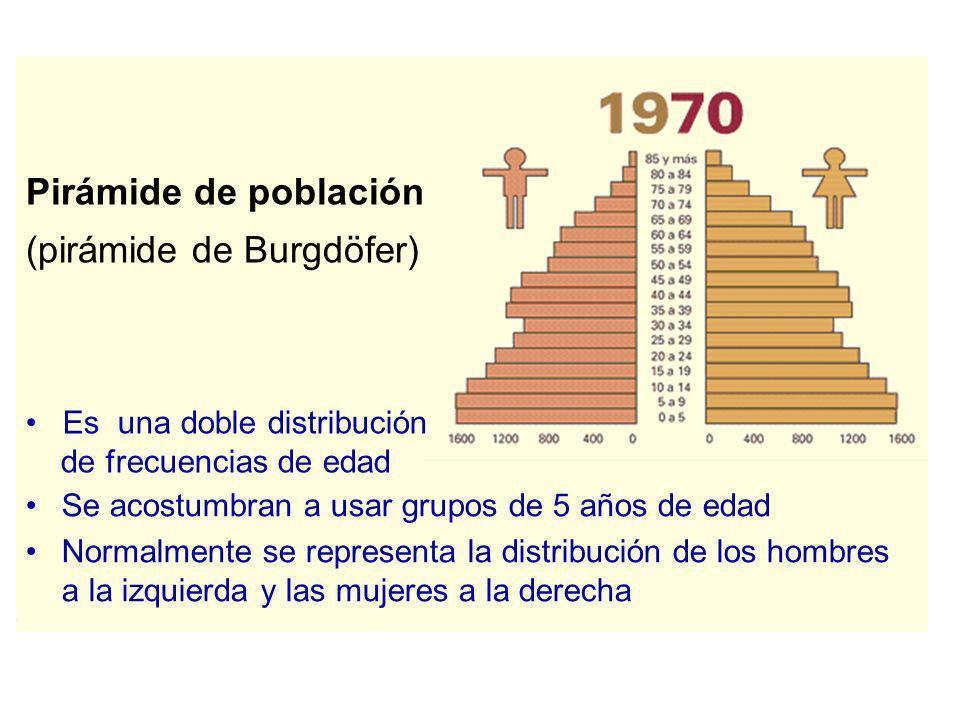 Pirámide de población (pirámide de Burgdöfer) Se acostumbran a usar grupos de 5 años de edad Normalmente se representa la distribución de los hombres