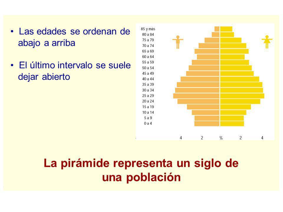 Las edades se ordenan de abajo a arriba El último intervalo se suele dejar abierto La pirámide representa un siglo de una población