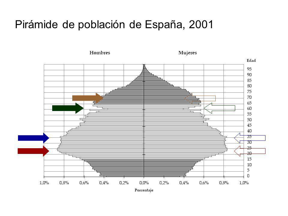 Pirámide de población de España, 2001