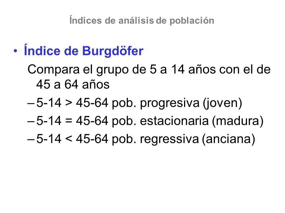 Índices de análisis de población Índice de Burgdöfer Compara el grupo de 5 a 14 años con el de 45 a 64 años –5-14 > 45-64 pob. progresiva (joven) –5-1