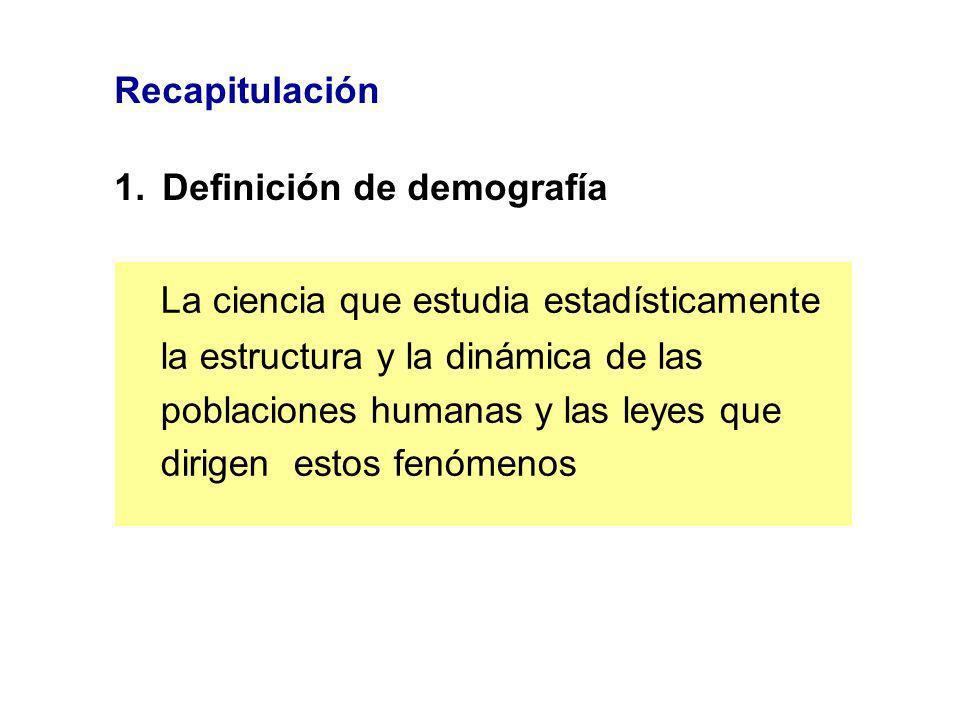 Recapitulación 1.Definición de demografía La ciencia que estudia estadísticamente la estructura y la dinámica de las poblaciones humanas y las leyes q