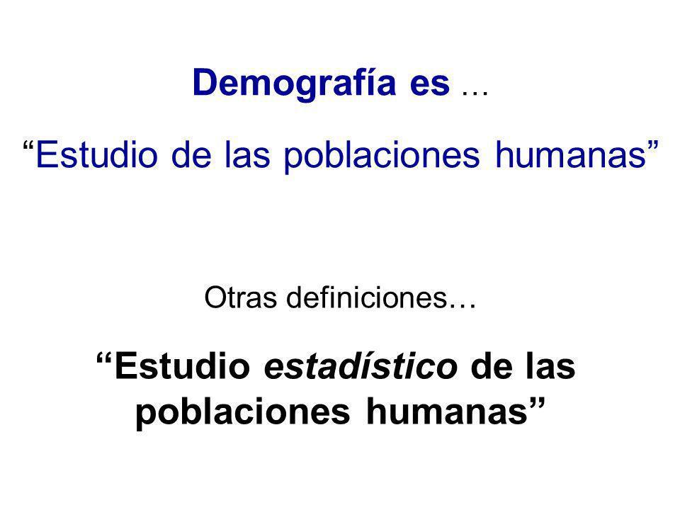 Demografía es … Estudio de las poblaciones humanas Otras definiciones… Estudio estadístico de las poblaciones humanas