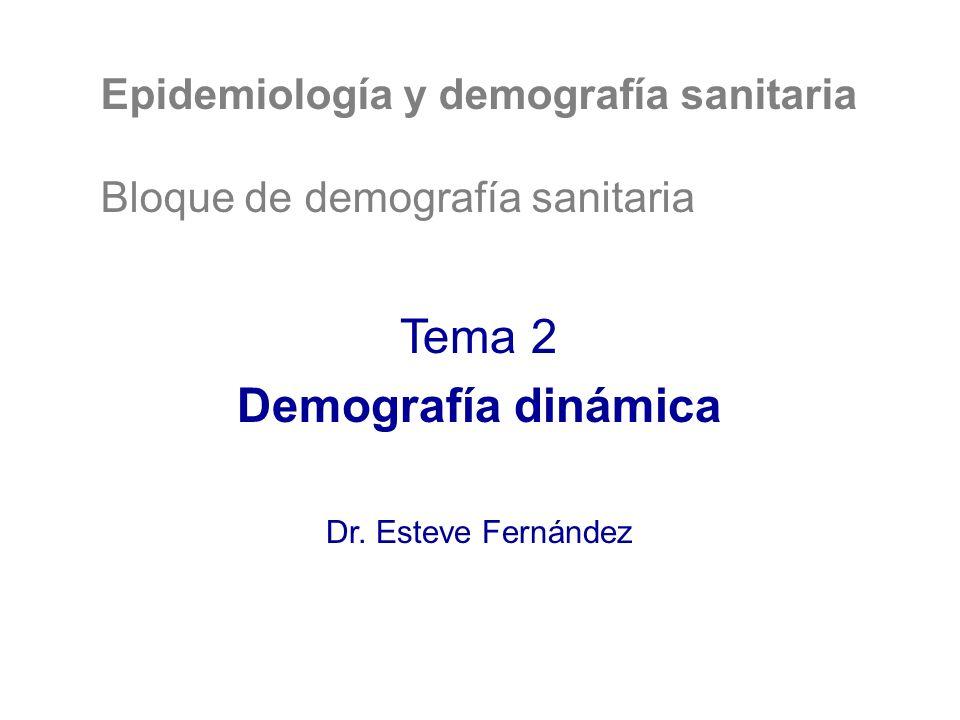 Epidemiología y demografía sanitaria Bloque de demografía sanitaria Tema 2 Demografía dinámica Dr.