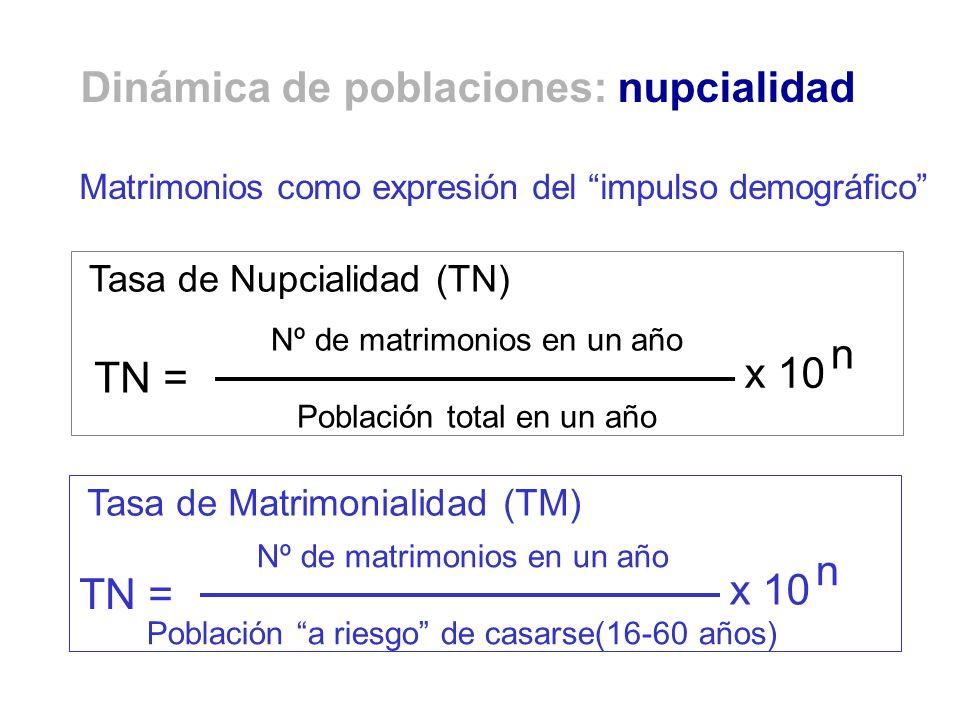 Matrimonios como expresión del impulso demográfico Nº de matrimonios en un año Población total en un año TN = x 10 n Nº de matrimonios en un año Pobla