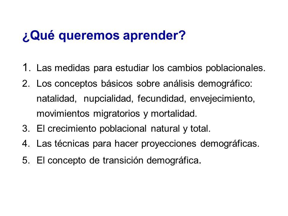¿Qué queremos aprender? 1.Las medidas para estudiar los cambios poblacionales. 2.Los conceptos básicos sobre análisis demográfico: natalidad, nupciali