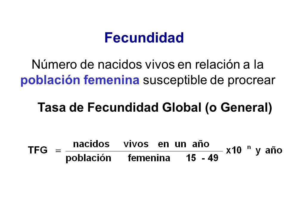 Fecundidad Número de nacidos vivos en relación a la población femenina susceptible de procrear Tasa de Fecundidad Global (o General)
