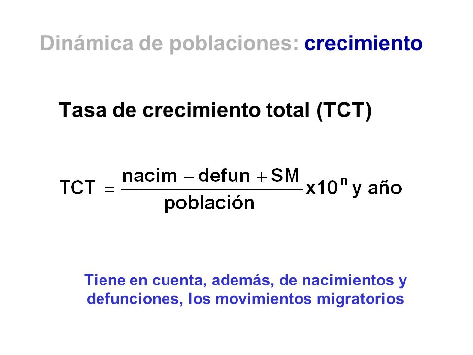 Tasa de crecimiento total (TCT) Tiene en cuenta, además, de nacimientos y defunciones, los movimientos migratorios Dinámica de poblaciones: crecimient