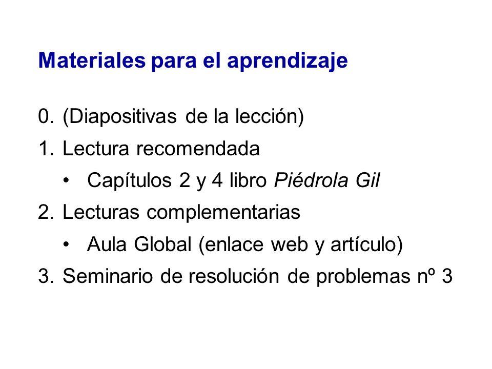 Materiales para el aprendizaje 0.(Diapositivas de la lección) 1.Lectura recomendada Capítulos 2 y 4 libro Piédrola Gil 2.Lecturas complementarias Aula