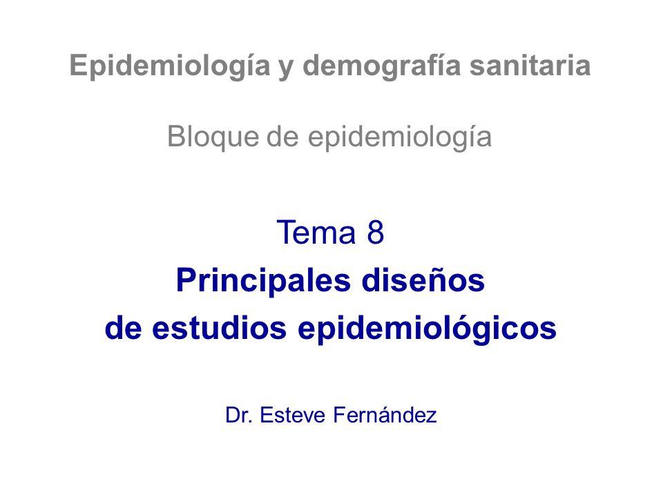Epidemiología y demografía sanitaria Bloque de epidemiología Tema 8 Principales diseños de estudios epidemiológicos Dr. Esteve Fernández