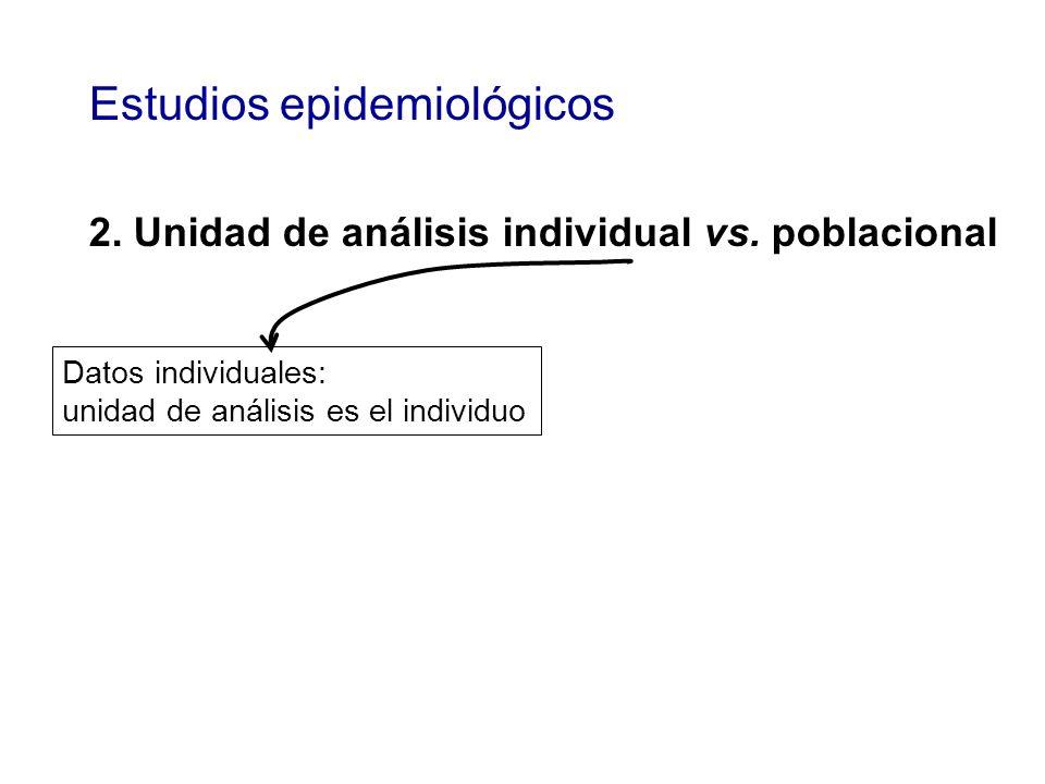 Estudios epidemiológicos 2. Unidad de análisis individual vs. poblacional Datos individuales: unidad de análisis es el individuo