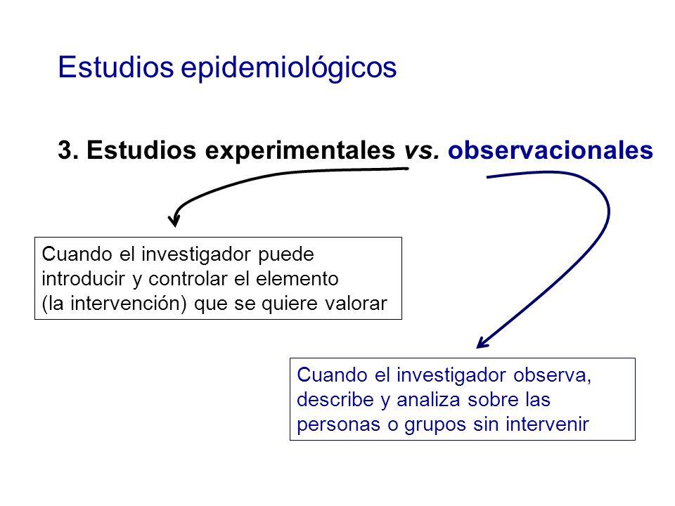 Estudios epidemiológicos 3. Estudios experimentales vs. observacionales Cuando el investigador observa, describe y analiza sobre las personas o grupos