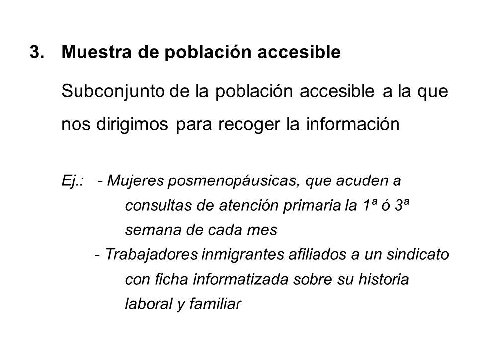 3.Muestra de población accesible Subconjunto de la población accesible a la que nos dirigimos para recoger la información Ej.: - Mujeres posmenopáusic